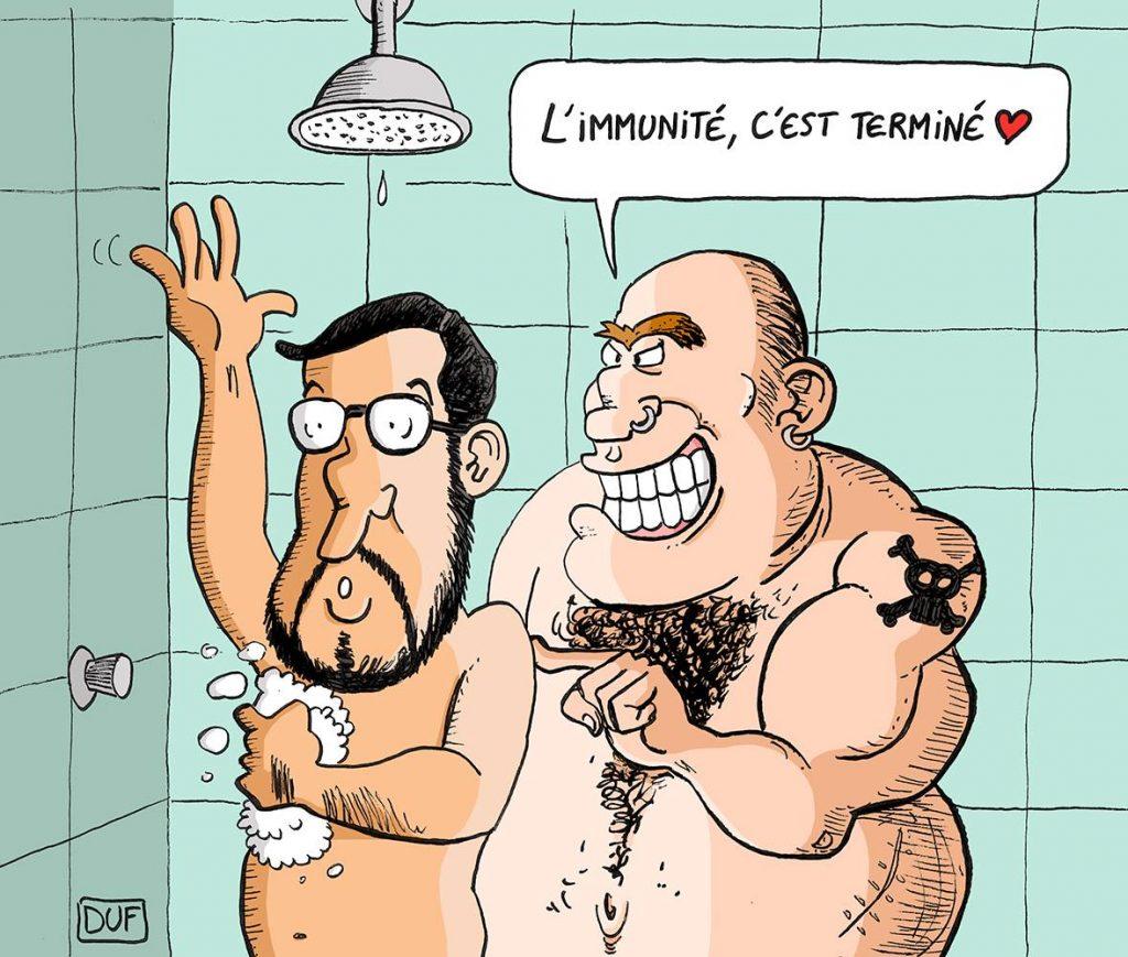 dessin d'actualité humoristique sur la mise en détention d'Alexandre Benalla