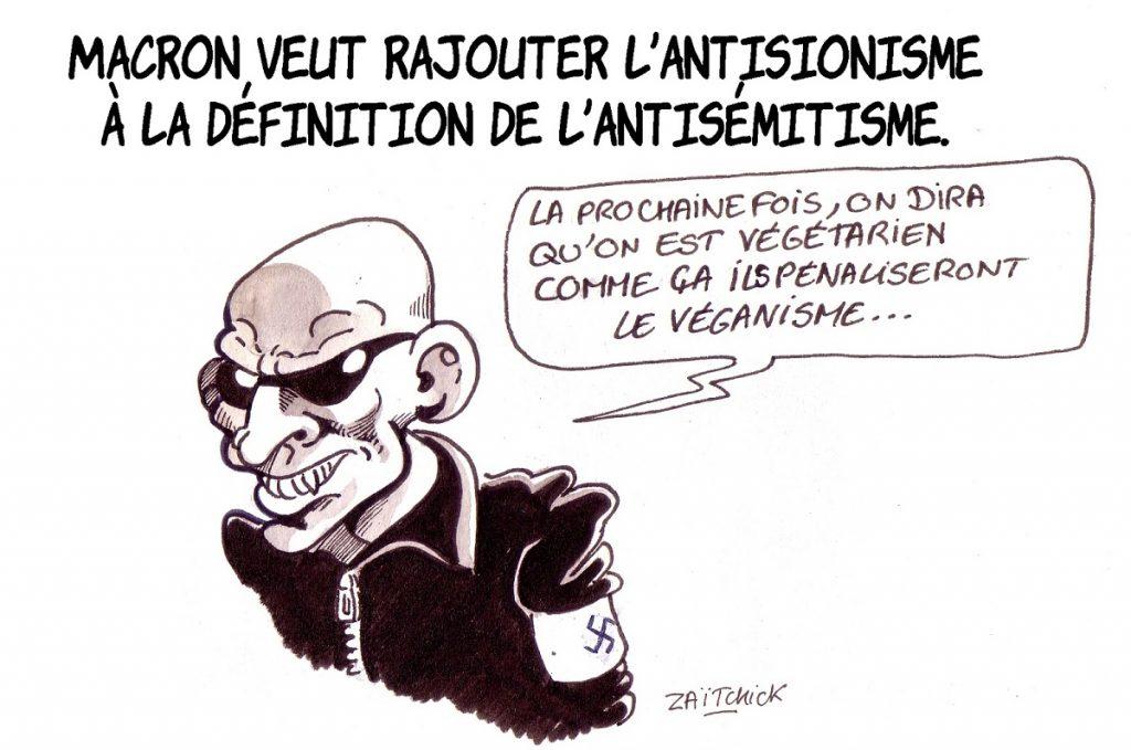 dessin d'actualité humoristique sur l'ajout de l'antisionisme à l'antisémitisme