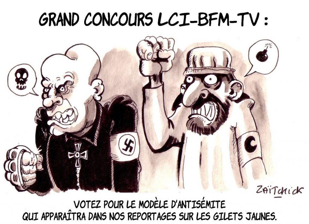 dessin d'actualité humoristique sur l'assimilation des gilets jaunes avec l'antisémitisme