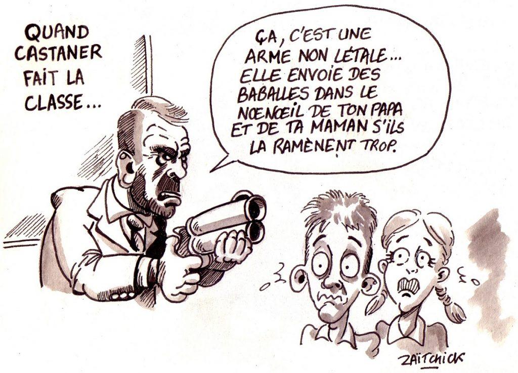 dessin d'actualité humoristique sur l'intervention de Christophe Castaner dans l'émission Au Tableau sur C8