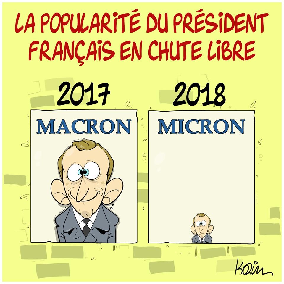 dessin d'actualité humoristique sur la popularité d'Emmanuel Macron