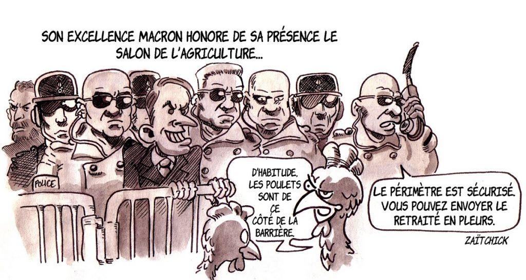dessin d'actualité humoristique sur la visite d'Emmanuel Macron au Salon International de l'Agriculture