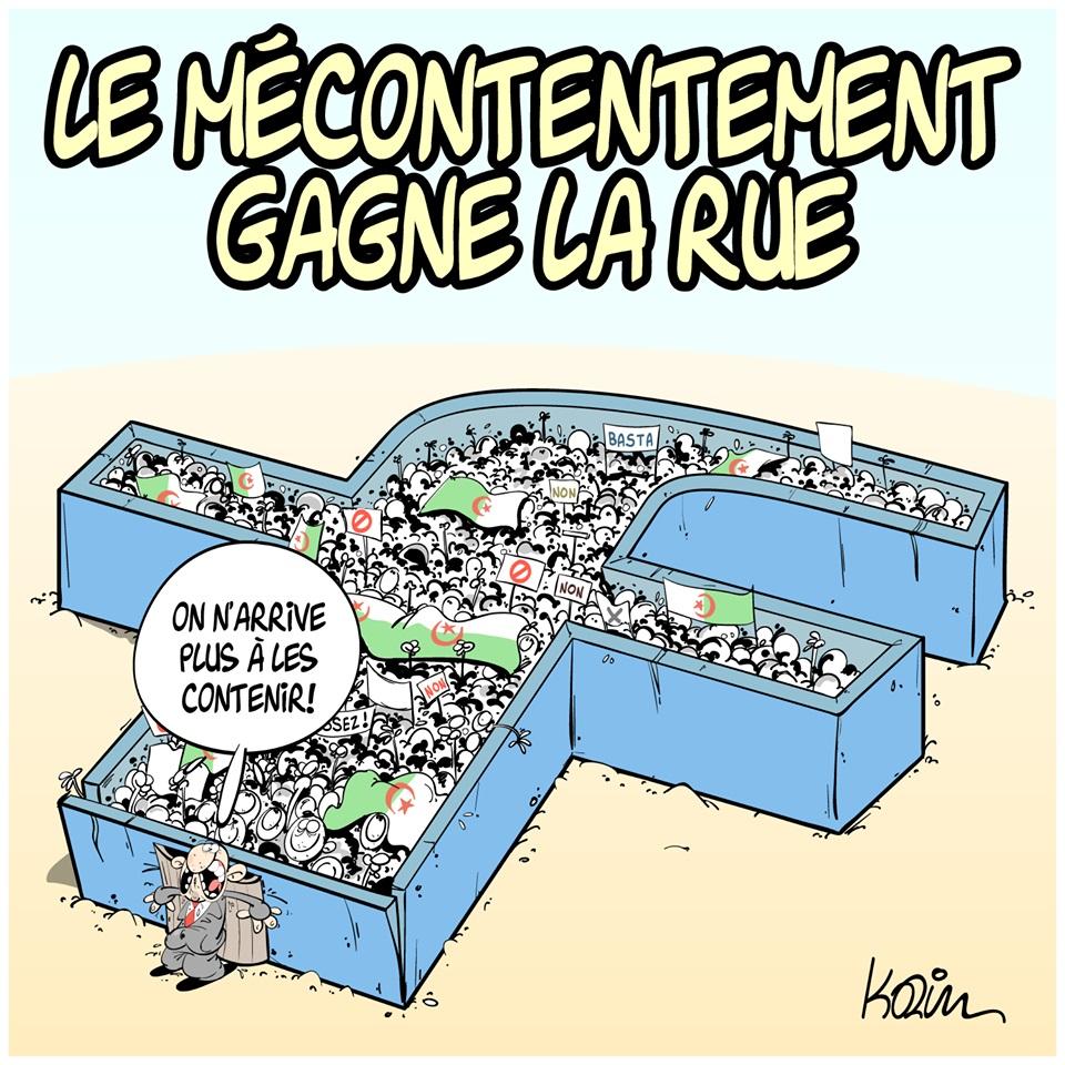 dessin d'actualité humoristique sur le mécontentement grandissant en Algérie