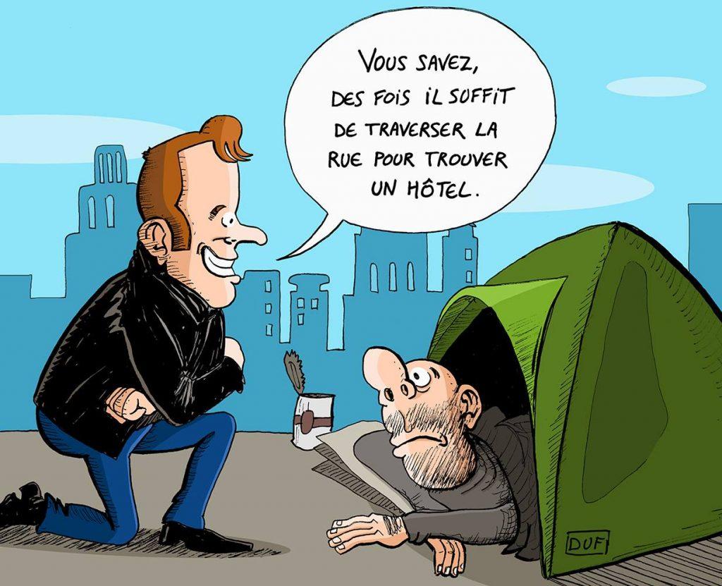 dessin d'actualité humoristique sur la participation d'Emmanuel Macron à une maraude du Samu Social