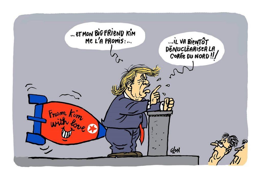 dessin d'actualité humoristique sur Donald Trump et la dénucléarisation de la Corée du Nord