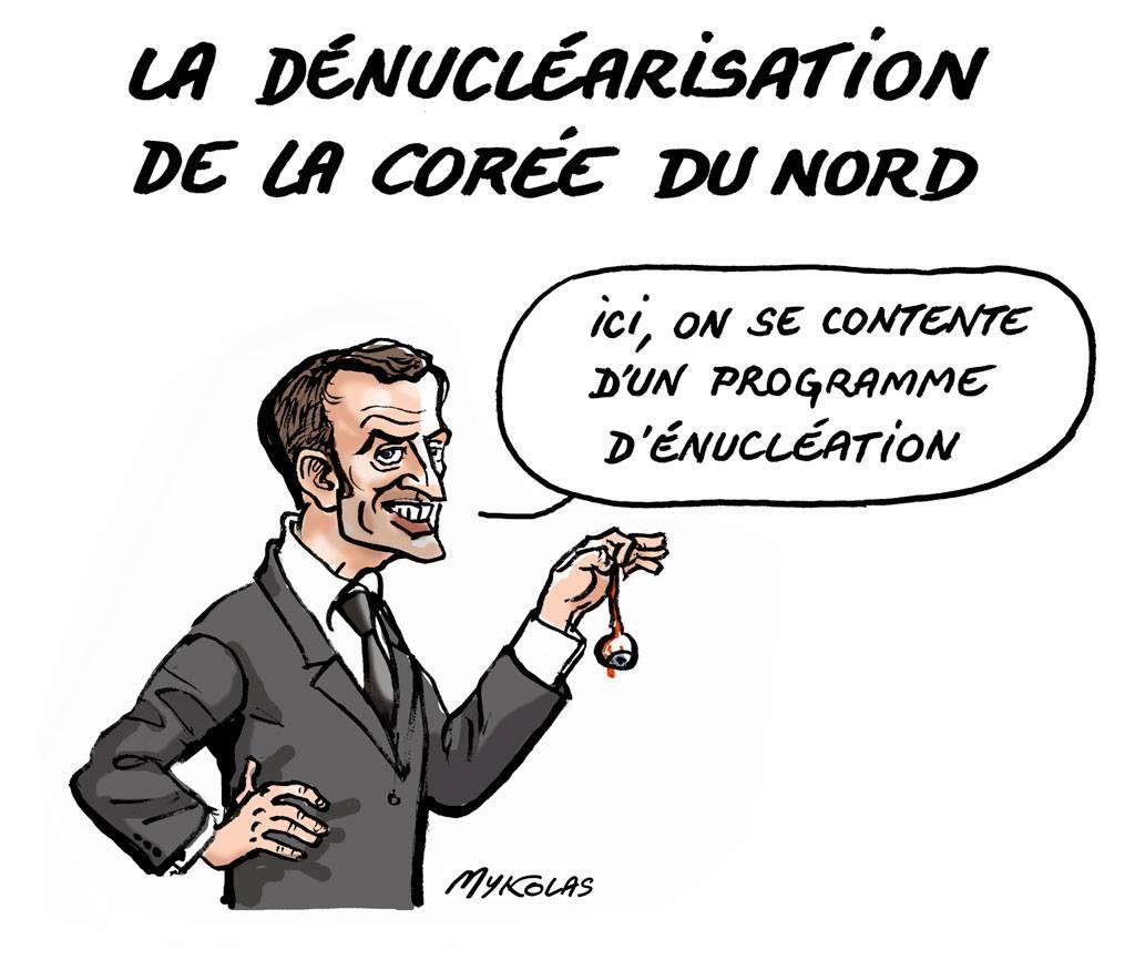 Dessin d'actualité humoristique d'Emmanuel Macron et la dénucléarisation de la Corée du Nord