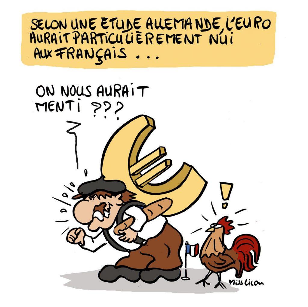 dessin d'actualité humoristique sur les mensonges des bienfaits de l'euro