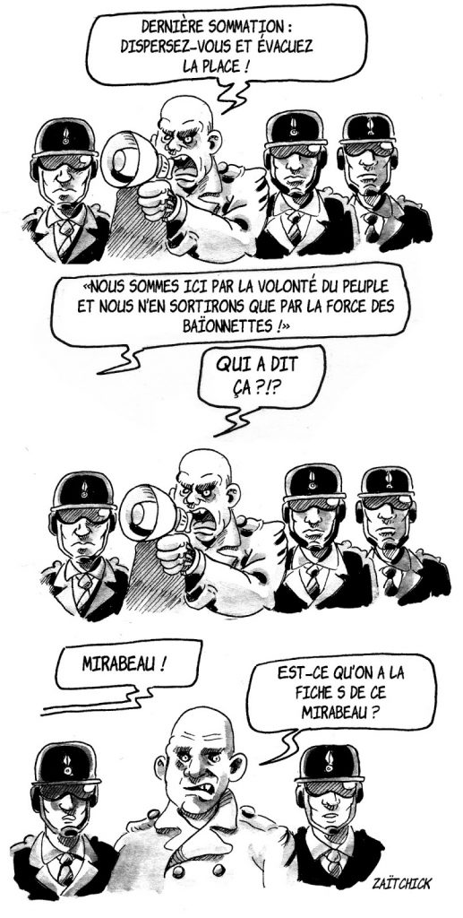 Dessin d'actualité humoristique de dialogue entre policiers et gilets jaunes