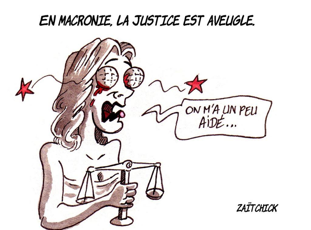 dessin d'actualité humoristique sur la justice française confronté aux violences policières et à l'affaire Benalla