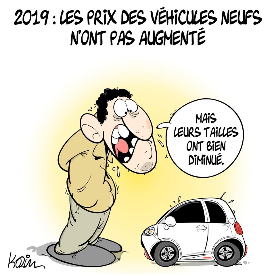 dessin d'actualité humoristique sur les prix des véhicules neufs en Algérie