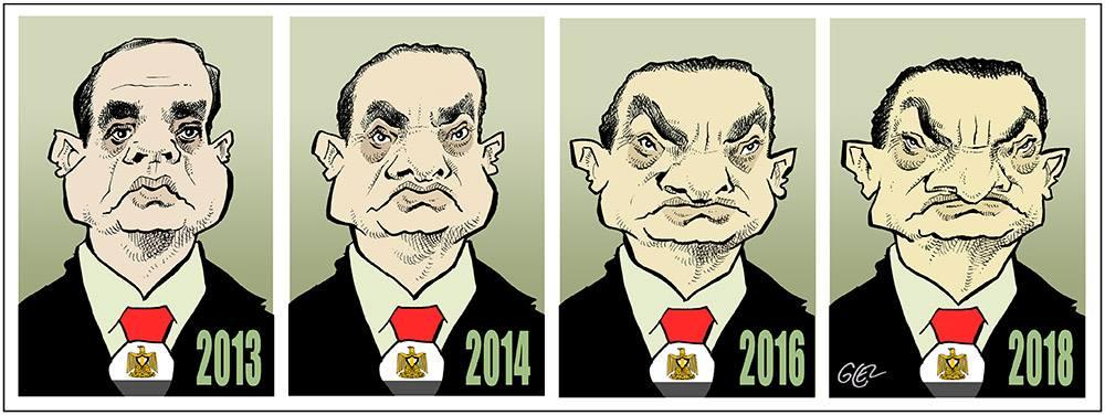 Caricature portrait d'Abdel Fattah al-Sissi, président d'Égypte