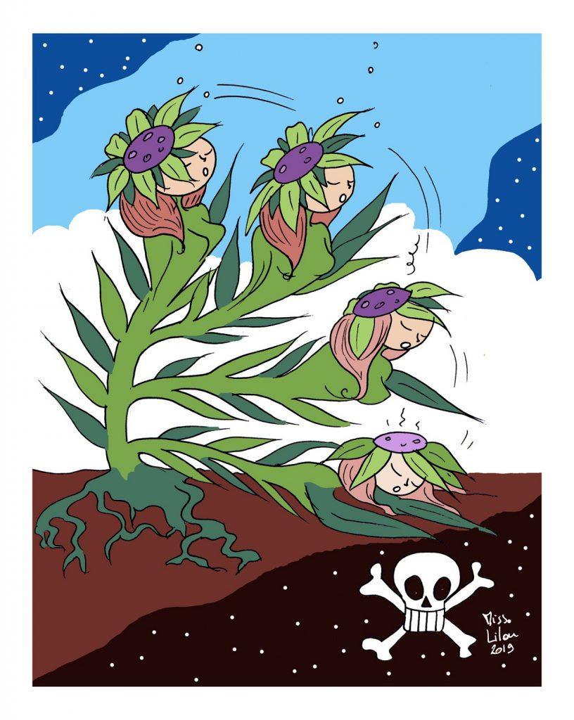 dessin d'actualité humoristique sur la disparition de la flore française