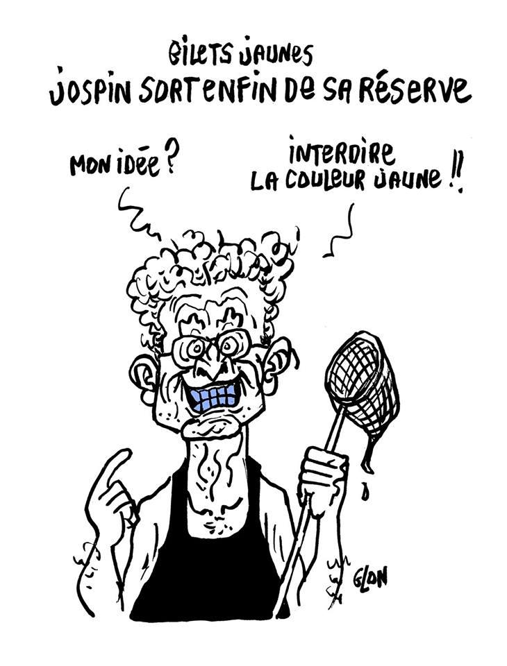 dessin d'actualité humoristique sur Lionel Jospin et le mouvement des gilets jaunes