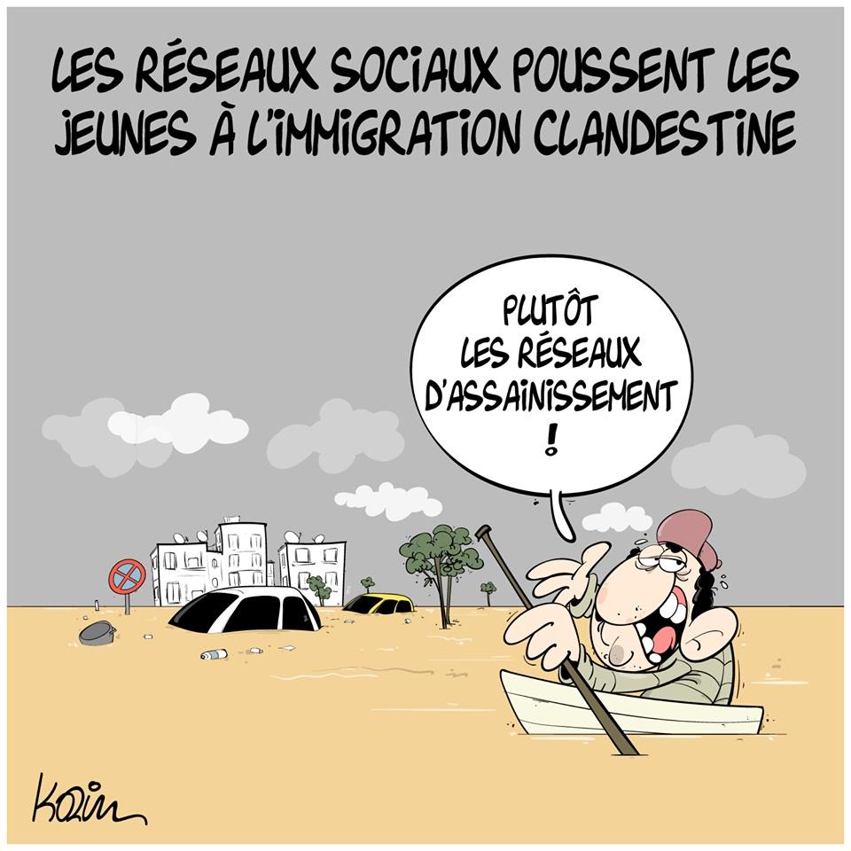 dessin d'actualité sur les raisons qui poussent les jeunes algériens à l'immigration clandestine