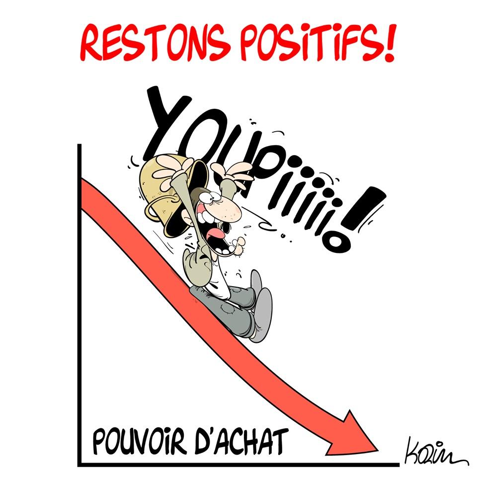 dessin d'actualité humoristique sur la baisse du pouvoir d'achat