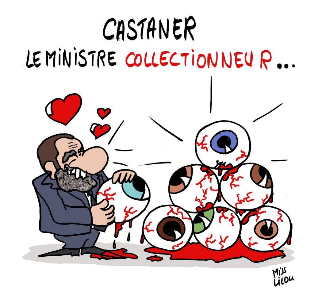 dessin d'actualité humoristique de Christophe Castaner collectionnant les yeux perdus par les gilets jaunes