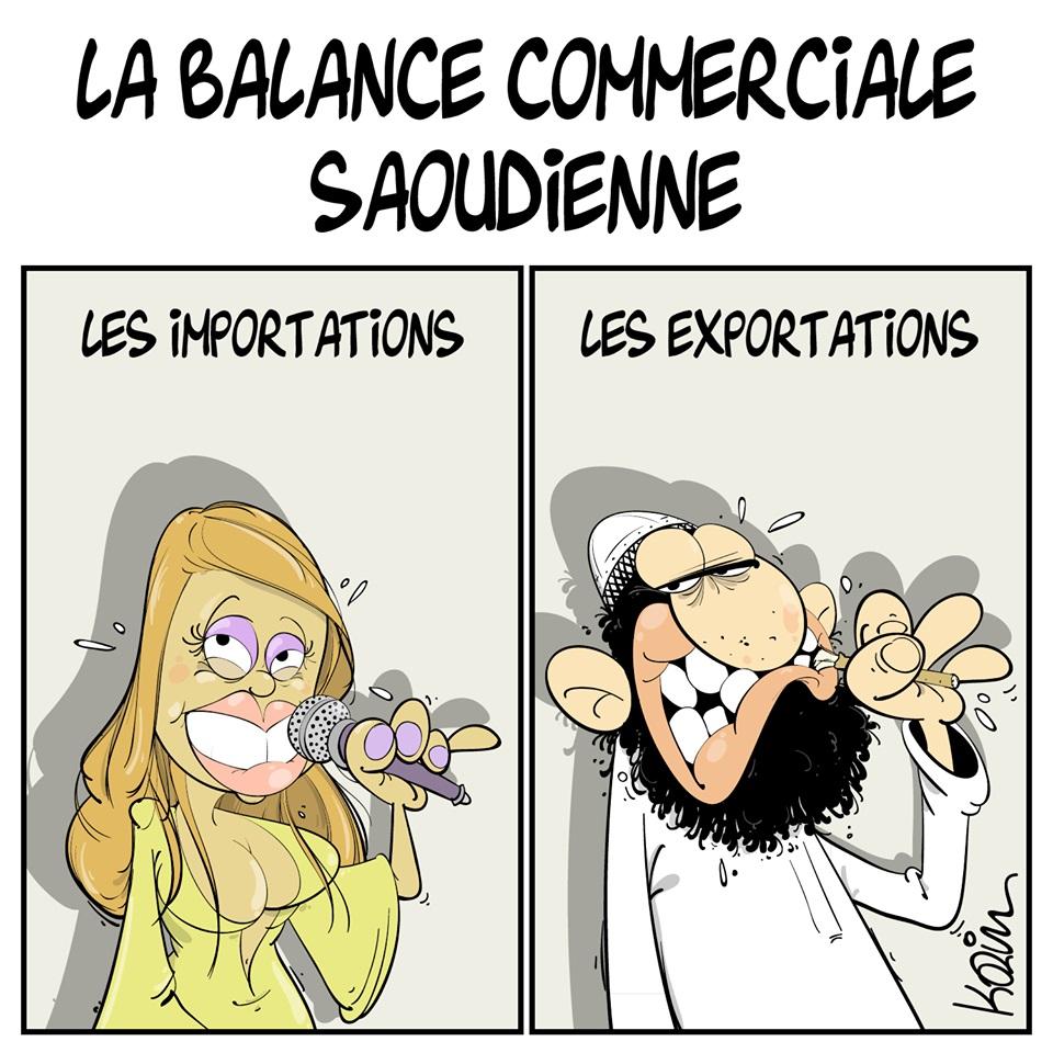dessin d'actualité humoristique sur la balance commerciale Saoudienne