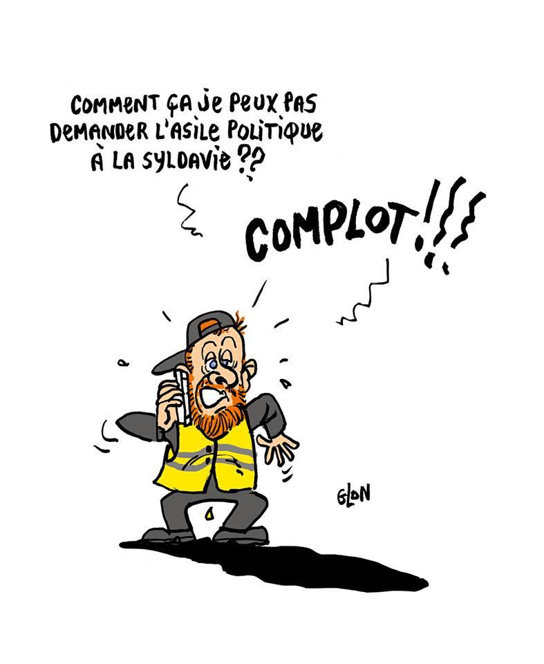 dessin d'actualité humoristique sur Maxime Nicolle et sa menace de quitter la France