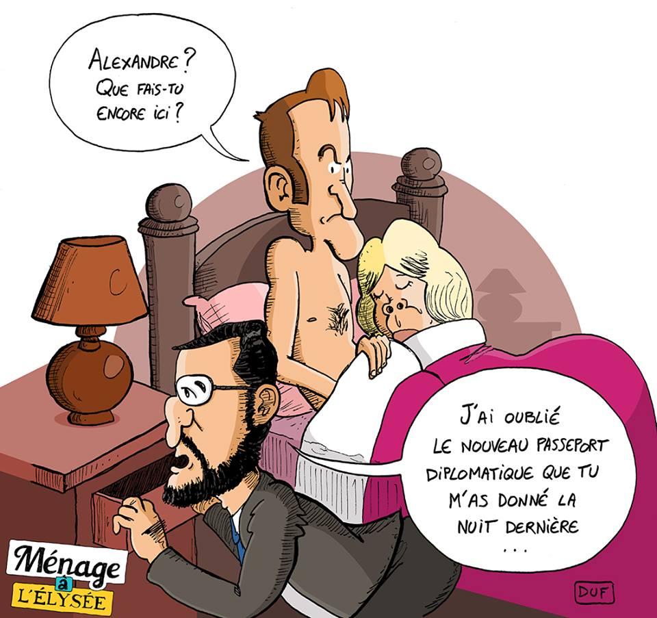 dessin d'actualité humoristique sur les passeports d'Alexandre Benalla