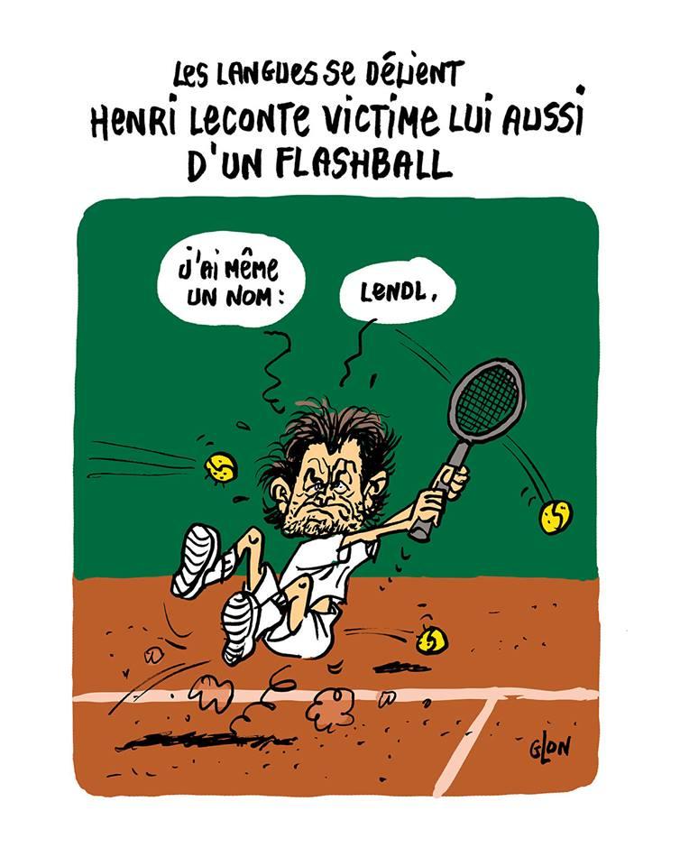 dessin d'actualité humoristique sur les violences policières et l'utilisation du flashball