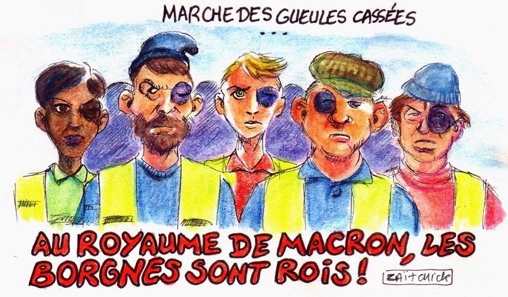 dessin d'actualité humoristique sur les gilets jaunes éborgnés lors des manifestations