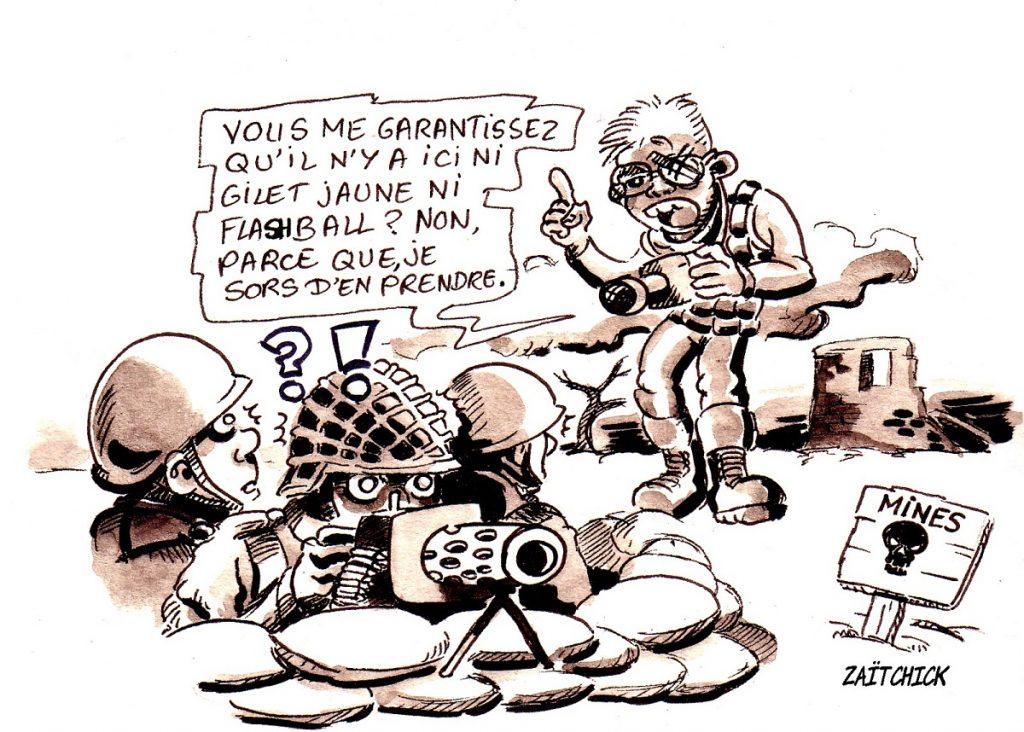 dessin d'actualité humoristique sur les journalistes face aux violences lors des manifestations des gilets jaunes