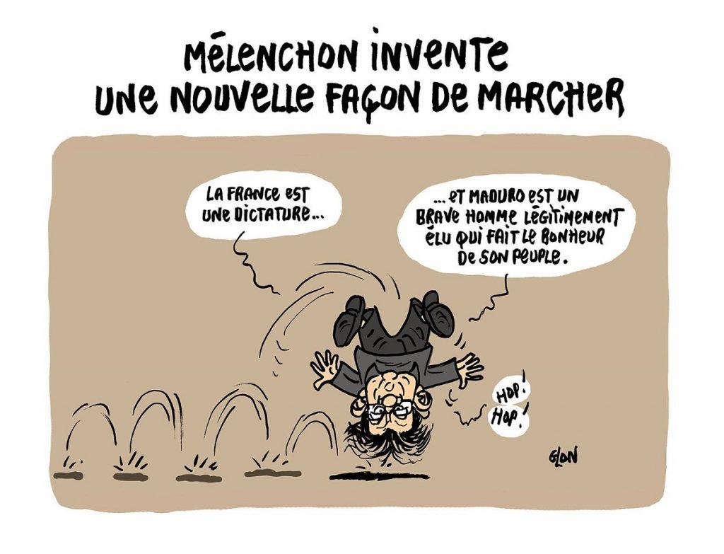 dessin d'actualité humoristique sur la position de Jean-Luc Mélenchon face à Maduro au Vénézuela