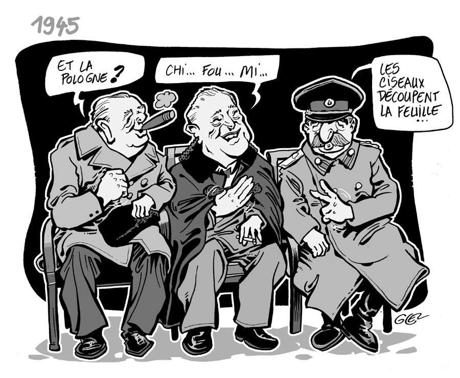 dessin humoristique sur la conférence de Yalta en 1945
