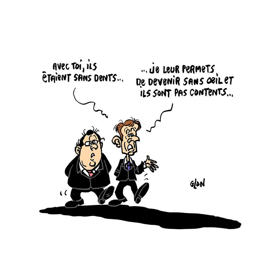 dessin d'actualité humoristique sur les interrogations présidentielles sur le mouvement des gilets jaunes