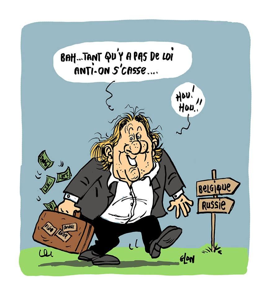 dessin d'actualité humoristique sur Gérard Depardieu et la loi anti-casseurs