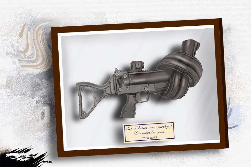 dessin d'actualité humoristique sur les violences policières et l'interdiction du LDB-40