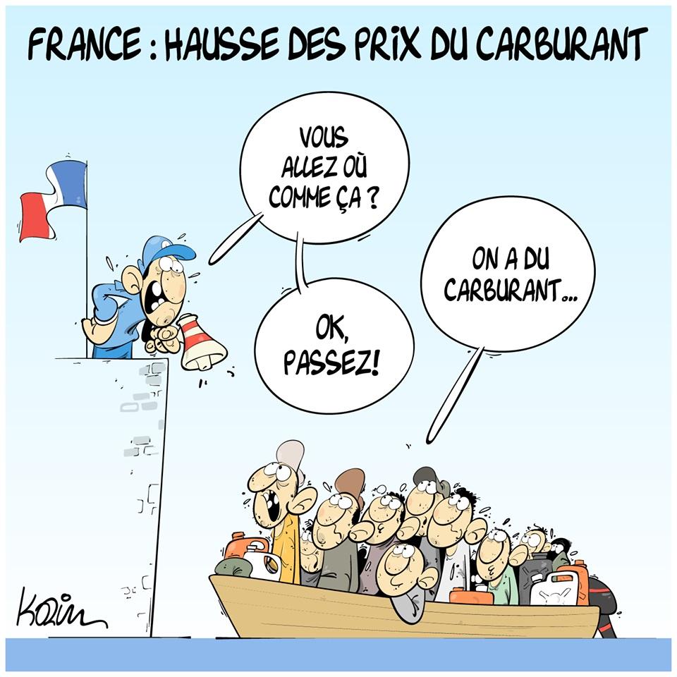 dessin d'actualité humoristique sur la hausse des prix du carburant en France