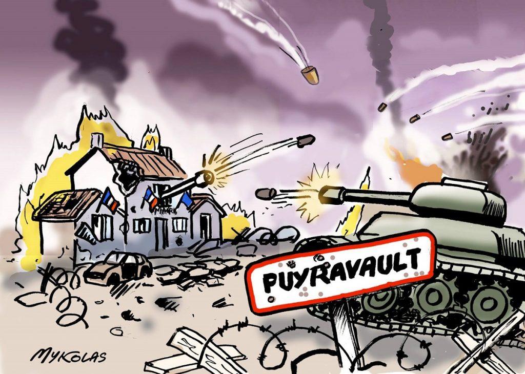 dessin d'actualité humoristique sur la bataille politique qui fait rage à Puyravault