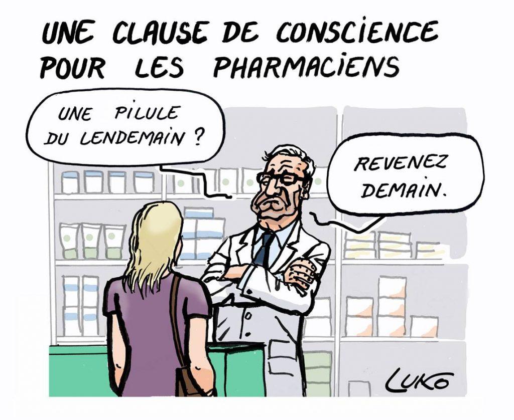 dessin d'actualité drôle sur la clause de conscience des pharmaciens