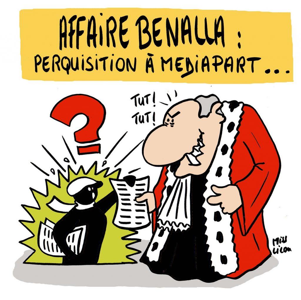 dessin d'actualité sur la perquisition à Mediapart suite aux révélations sur l'affaire Benalla