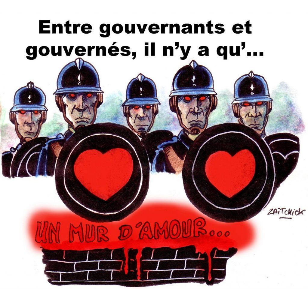 dessin d'actualité humoristique sur la gouvernance française d'Emmanuel Macron