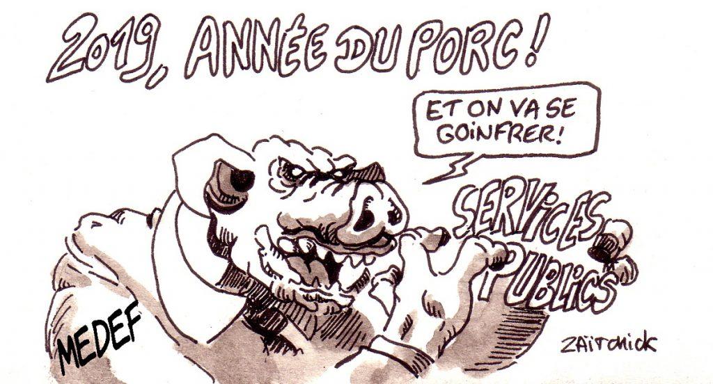 dessin d'actualité humoristique sur le nouvel an chinois, l'année du cochon et le MEDEF