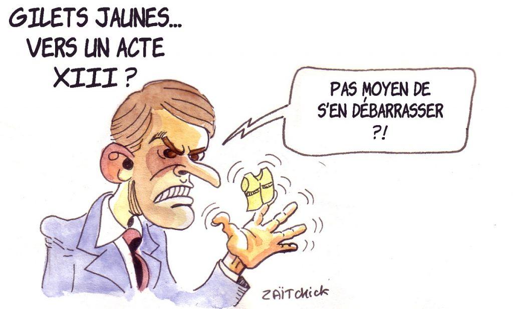 dessin d'actualité humoristique d'Emmanuel Macron désespéré par le mouvement des Gilets Jaunes