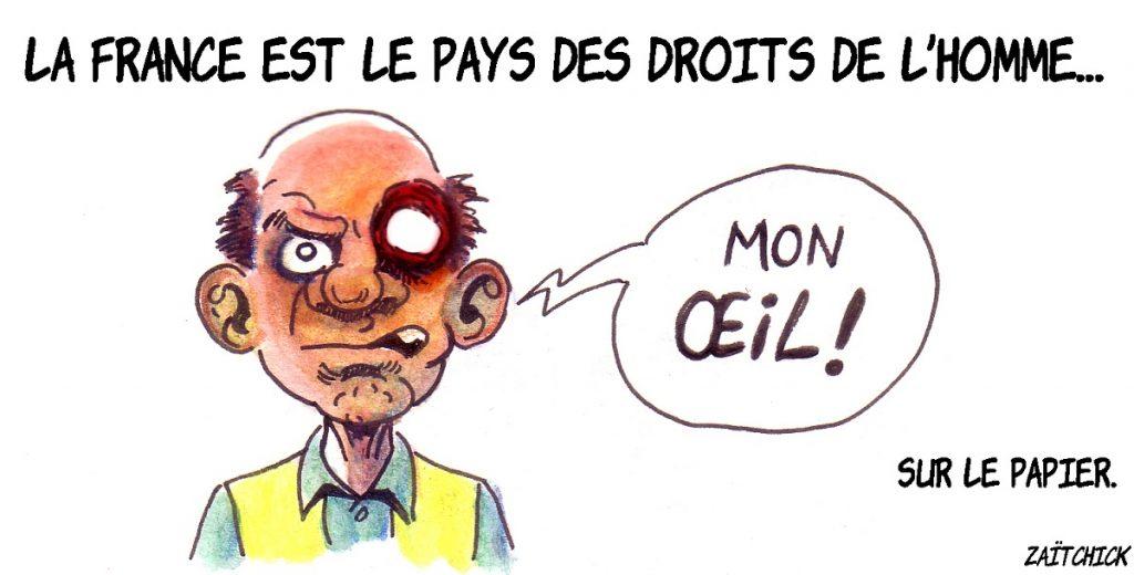 dessin d'actualité humoristique sur les droits de l'homme et les violences policières