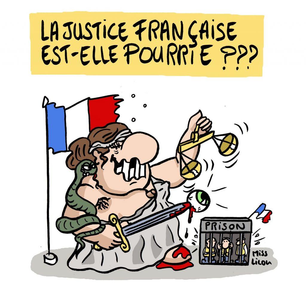 dessin d'actualité humoristique sur la justice française face aux gilets jaunes