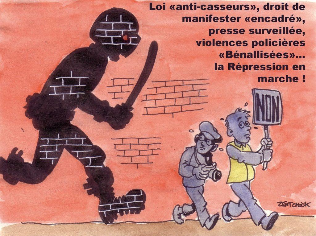 dessin d'actualité humoristique sur LREM : La Répression En Marche