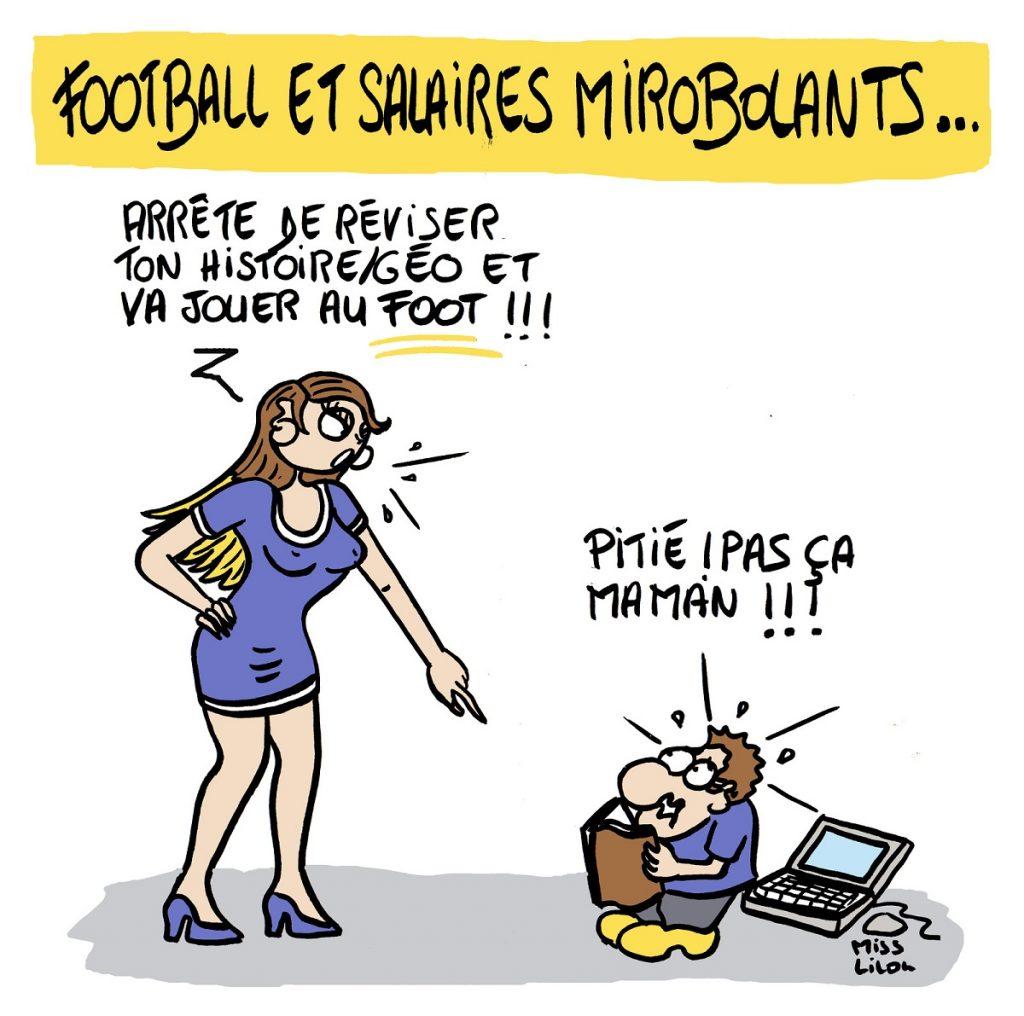 dessin d'actualité humoristique sur les salaires exorbitants dans le football