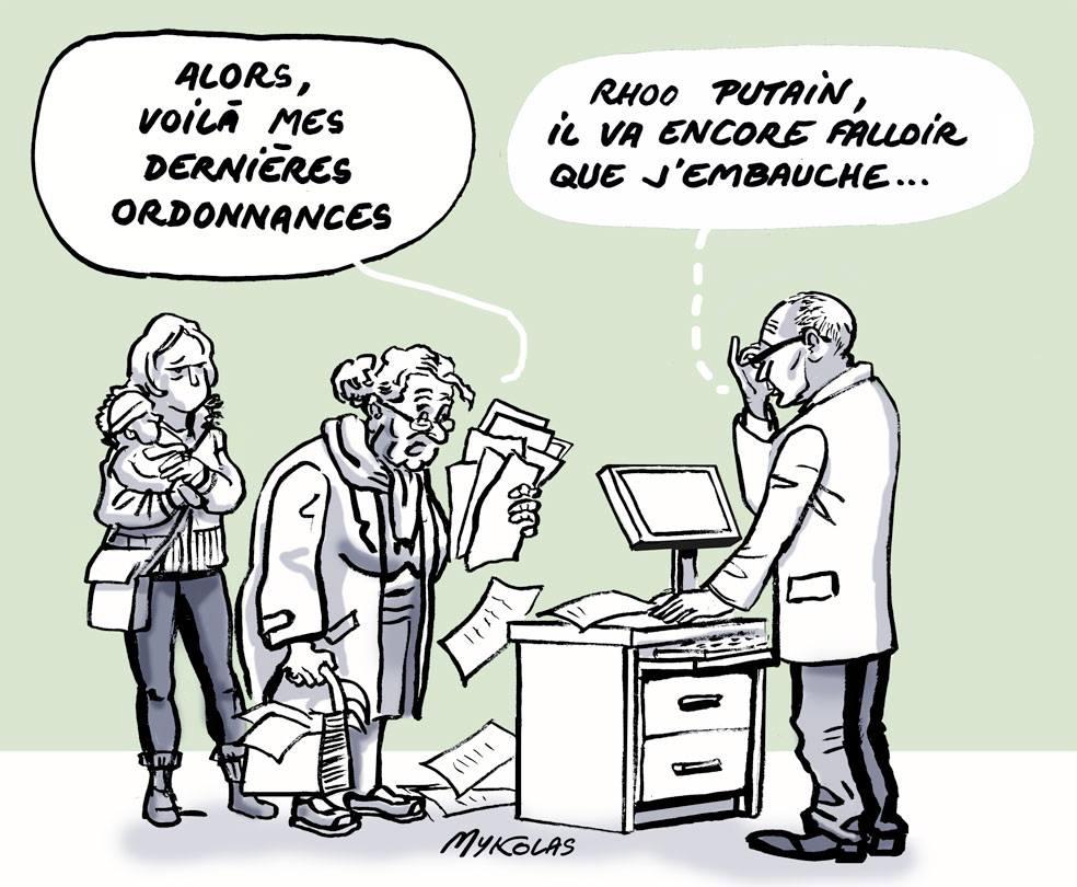 dessin d'actualité humoristique sur l'obligation d'embauche des pharmaciens