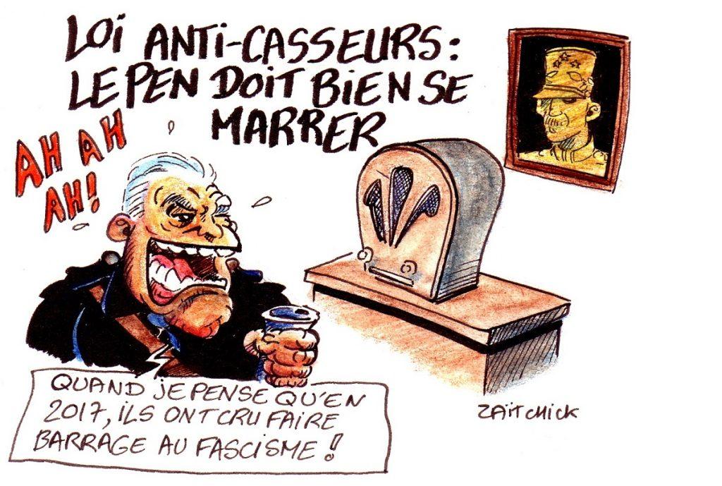 dessin d'actualité humoristique sur l'adoption de la loi anti-casseurs