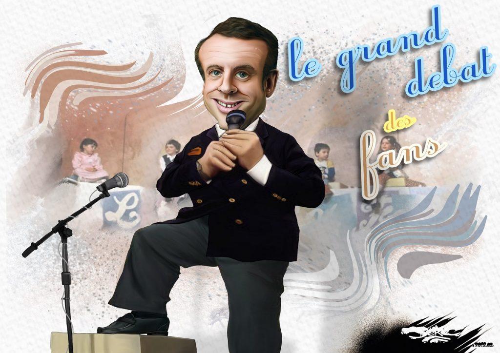 dessin d'actualité humoristique sur le grand débat d'Emmanuel Macron