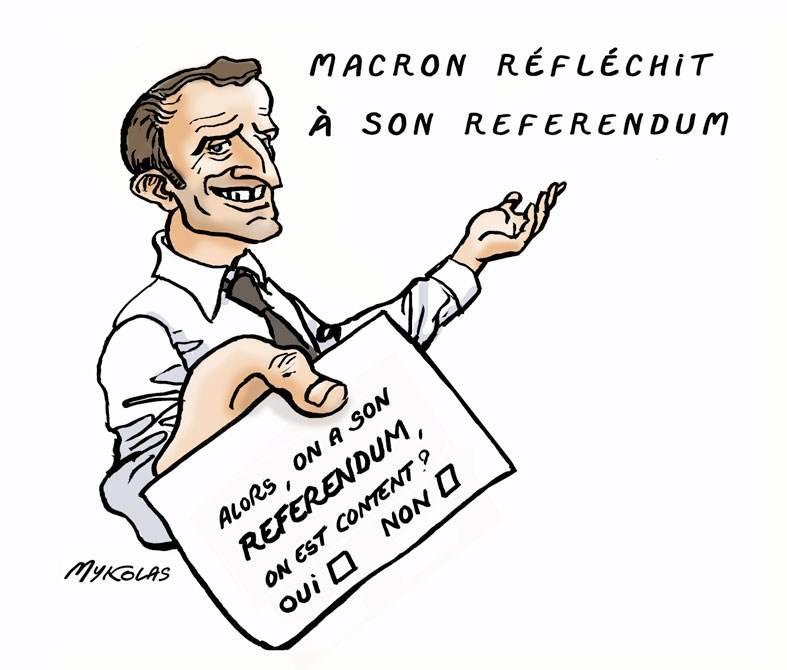 dessin d'actualité humoristique sur le référendum préparé par Emmanuel Macron