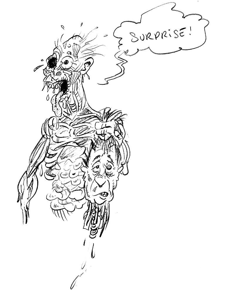 dessin drôle d'un zombie faisant une surprise pour Halloween
