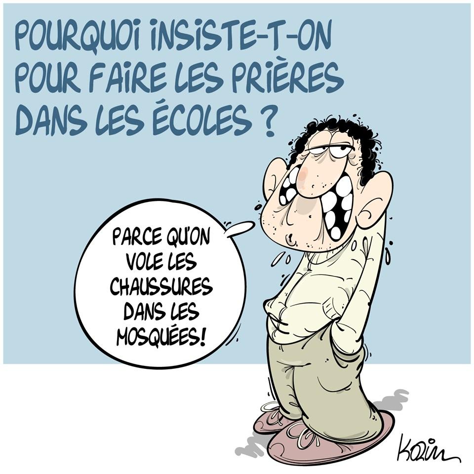 dessin d'actualité humoristique sur la revendication religieuse de faire les prières dans les écoles
