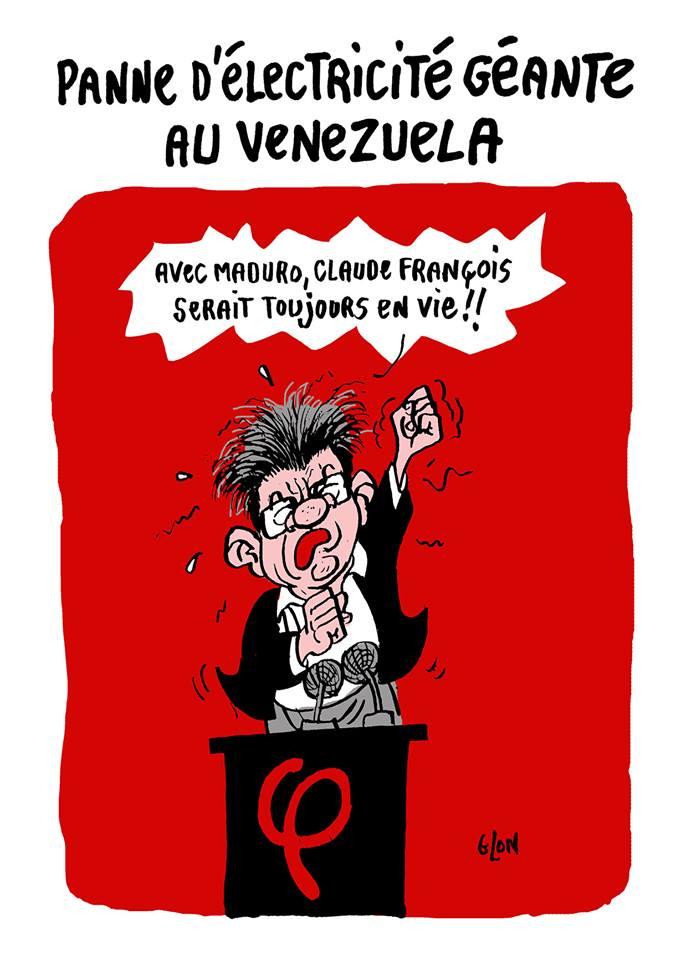 dessin d'actualité humoristique sur la panne géante d'électricité au Venezuela