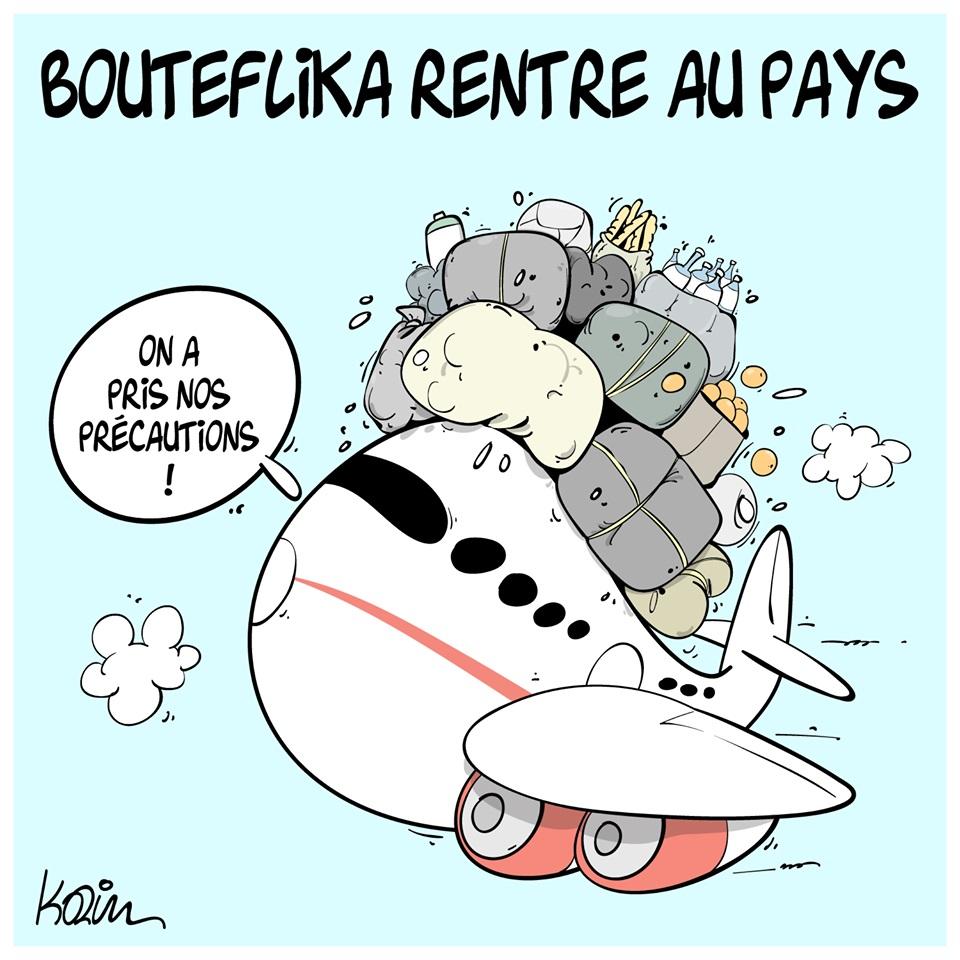 dessin d'actualité humoristique sur le retour au pays d'Abdelaziz Bouteflika